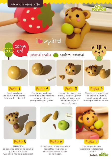 Easy Polymer Clay Squirrel Tutorial. It's a squirrely! But I would probably give him a smiley face if I could.