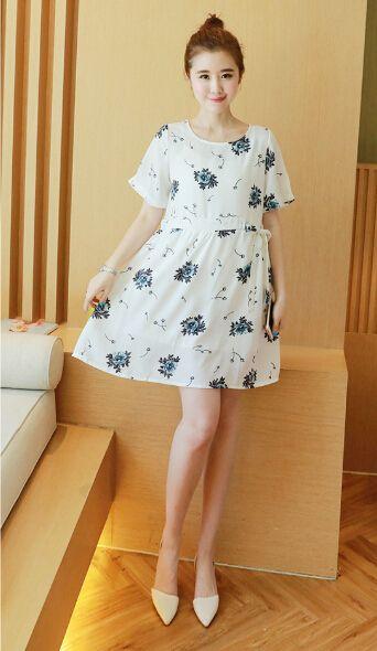 2016 Лето Новый Стиль Беременные женщины одежда Больших размеров Свободные Корейский короткими рукавами Печати хлопок белье Для Беременных Платье SH-6023