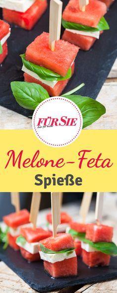 Rezept für Wassermelonen-Feta Spieße mit Basilikum, perfekt für die nächste Grillparty!