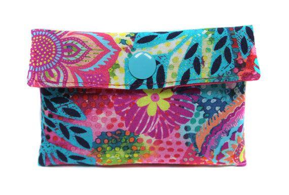 porte-cartes en tissu turquoise et rose par Kipapee sur Etsy