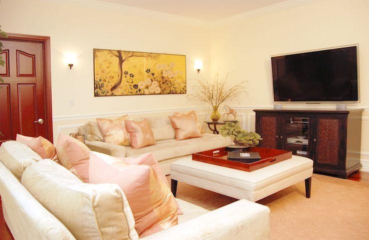 Marie Burgos Design - living rooms - Benjamin Moore - Sugar Cookie - asian design, living room design, living room, marie burgos design, lea...
