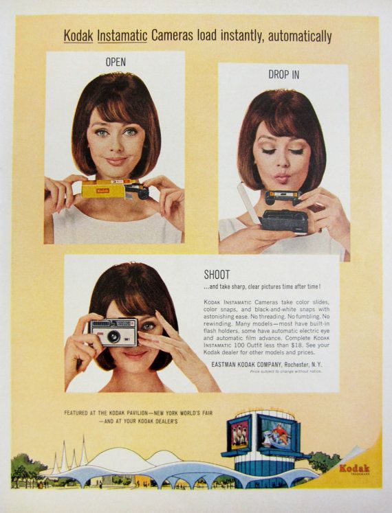 1964 Kodak Instamatic Camera Vintage Advertisement by RelicEclectic on Etsy, $7.00