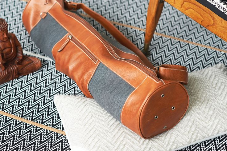 AYW • HEATHER || Leather Novelty Zipper Yoga Bag / Pilates Mat Bag w/ Side Pocket and Shoulder Strap - Yoga Mat Carrier - Yoga Accessories by AsYouWereYoga on Etsy https://www.etsy.com/listing/221513040/ayw-heather-oo-leather-novelty-zipper