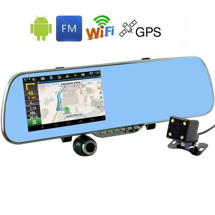 5.0 pulgadas táctil android espejo retrovisor coche cámara de wifi gps navigator aparcamiento vídeo full hd 1080 p coche dvr de doble lente grabadora