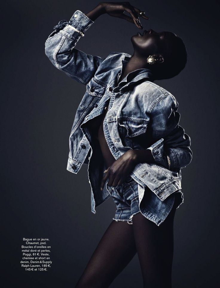 visual optimism; fashion editorials, shows, campaigns & more!: radical denim: ataui deng and alima fofana by vanmossevelde+n for glamour fra...