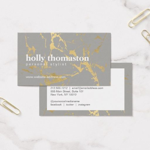 Edgy Gold Marble On Gray Interior Designer Business Card