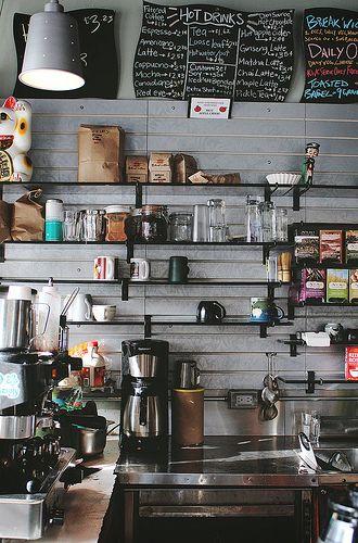 coffee shop / interior / eclectic / industrial