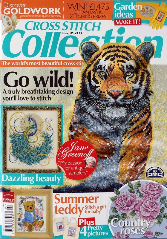 Cross Stitch Collection 185 2010 Go Wild Teddy Roses Peacock Baby Sampler