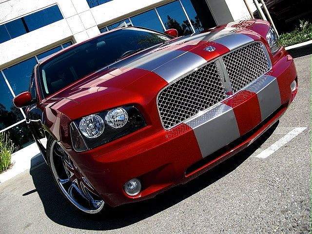 Red 2008 Dodge Charger With Racing Stripes Dream Car