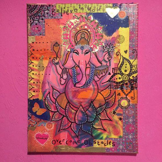 Ganesha-Deva des Intellekts und der Weisheit, inspiriert böhmischen eins einer Art Kunst, Indian PRINT, Boho-schick, home Dekor, spirituelle