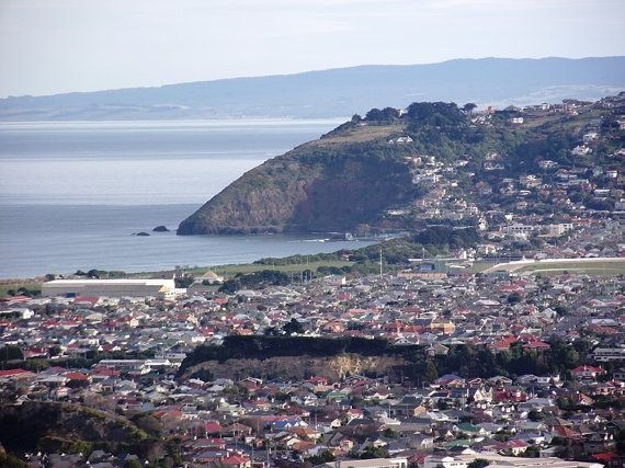 City by the Sea Dunedin  New Zealand Scenic by KarenLawsonArt, $22.00