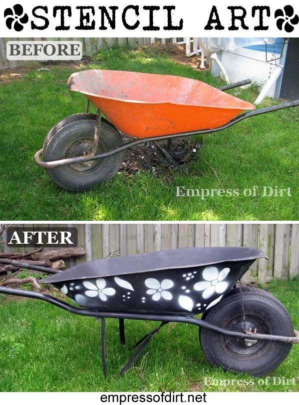 Stencil A Wheelbarrow http://www.empressofdirt.net/stencil-a-wheelbarrow-because-you-can/