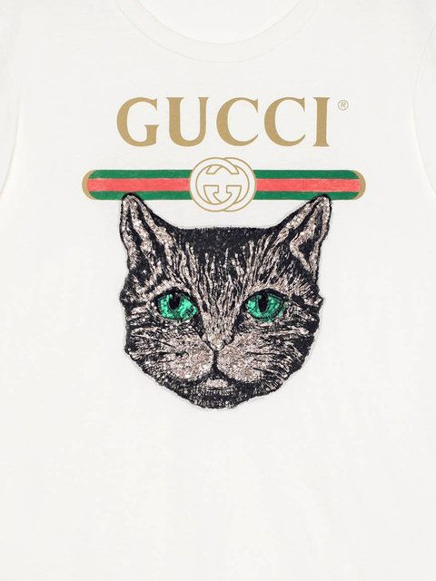 5ceec40d3 Shop Gucci Gucci logo T-shirt with Mystic Cat. | Images in 2019 ...