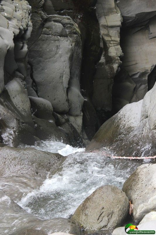 """Canon Macho de Monte near Volcan, Panama.   I love the """"safety"""" rope you can hold while you hang in the cascade of water  More intense in the rainy season in Panama, I am sure. #Panama"""