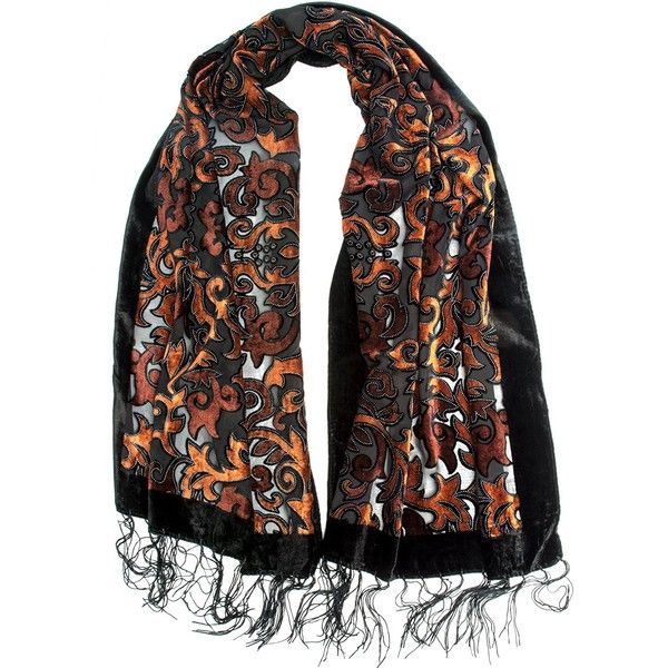 Bohomonde, Gia Scarf - Silk Brocade Print Velvet Burnout Scarf with... ($19) ❤ liked on Polyvore featuring accessories and scarves