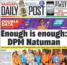 Image result for Vanuatu daily post newspaper issue 5190 Saturday 02 September 2017