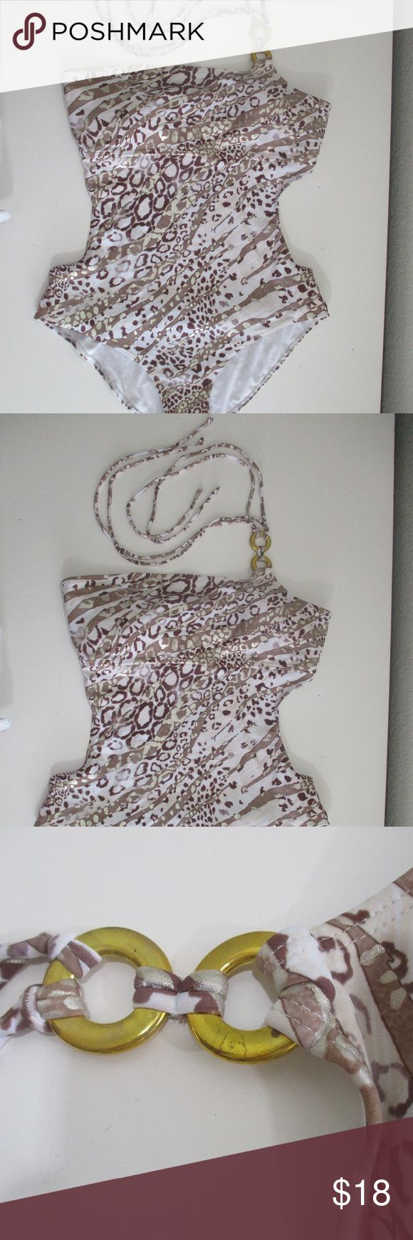Sand N Sun Womens sz 16/18 Monokini Leopard PRE OWNED - LIKE NEW some patina on the gold ring, otherwise overall like new Sand N Sun  Womens sz 16/18  Monokini, Bathing Suit, Swim Suit Sexy, One Shoulder Halter Tie Brown Gold Metallic Leopard Sand N Sun Swim One Pieces