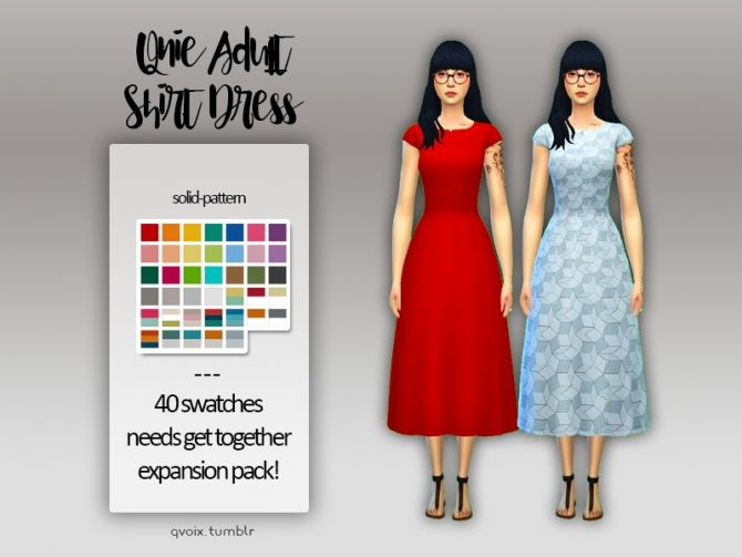 Sims 4 Updates: qvoix – escaping reality - Clothing, Female : Shirt Dress, Custom Content Download!