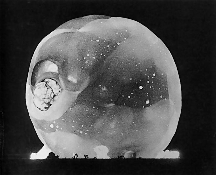 "historicaltimes: ""Instant Of Test Nuclear Detonation Captured By Harold Edgerton's Rapatronic Camera With Shutter Speed Of One Hundred Millionth Of A Second. Circa 1950s. """