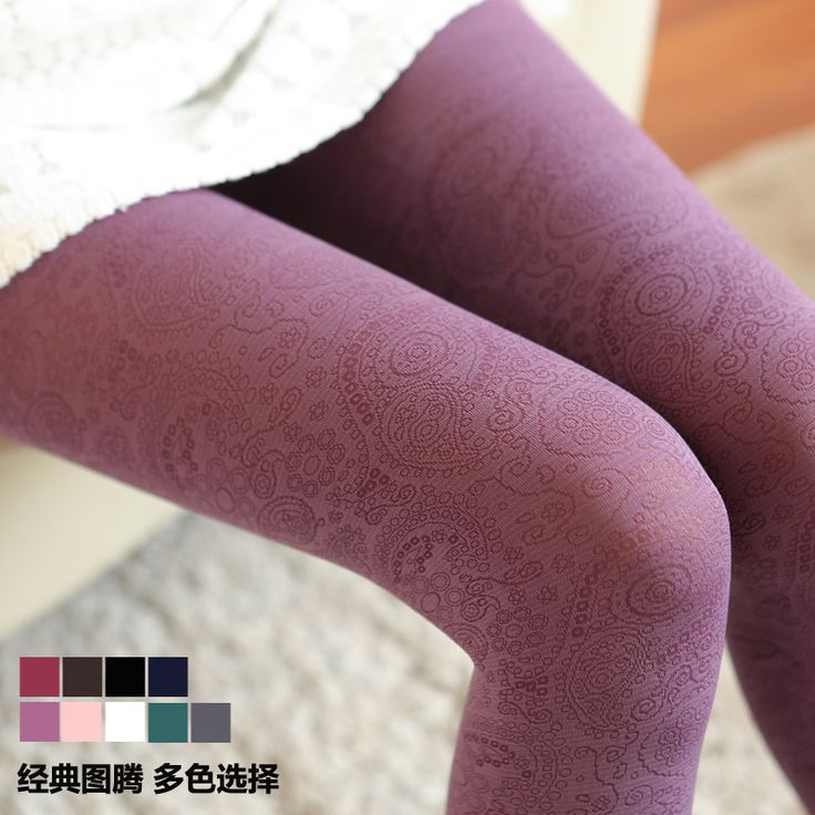 W101 winter warm thick tights Royal Peacock tail Phoenix feather Totem vintage dark pattern sexy women tights free size 9 colors