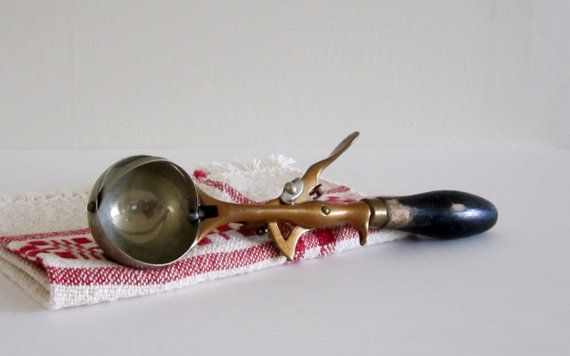 Vintage Copper, Wood and Stainless Steel Ice Cream Scoop - French Country Farmhouse by cozycottagechic, $20.00
