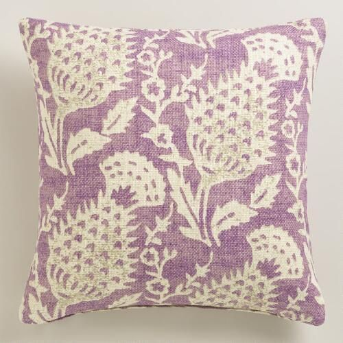 One of my favorite discoveries at WorldMarket.com: Purple Floral Jute Throw Pillow