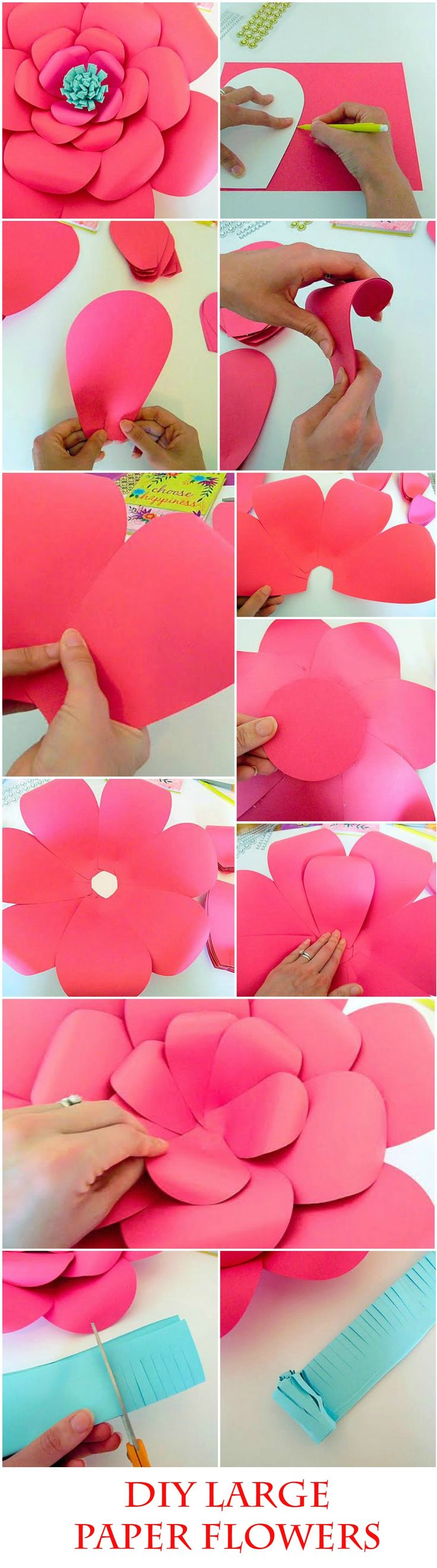 DIY Giant Paper flower templates & tutorial, DIY Paper flower making kit…