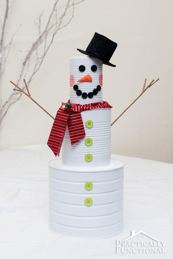 DIY Christmas Craft: Tin Can Snowman