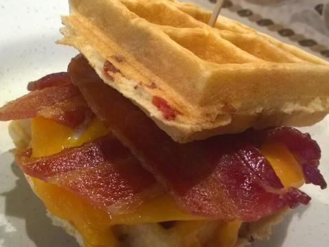 Belgian Bacon Waffle Breakfast Sandwich