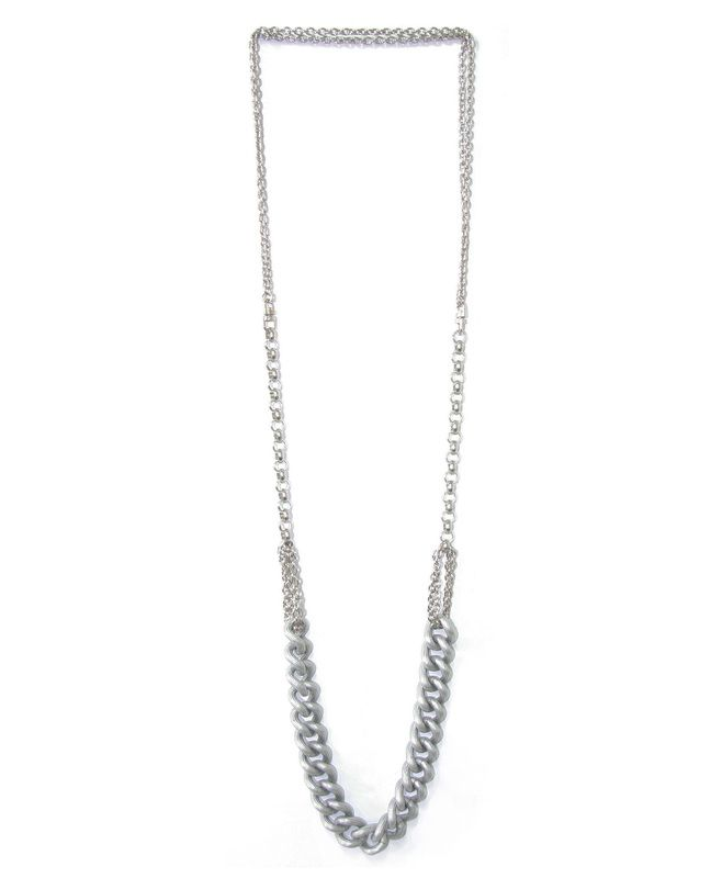COCO:NL65 $90 A very long combined silver chain necklace