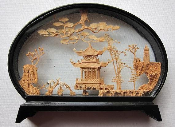 antique vintage chinese cork landscape