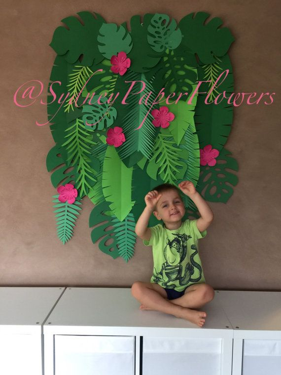 Tropical leaves backdrop / Jungle party by SydneyPaperFlowers