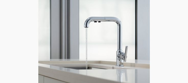With its high-arch swing spout and pullout spray, the K-7505 kitchen faucet enhances your kitchen with contemporary style and convenience.