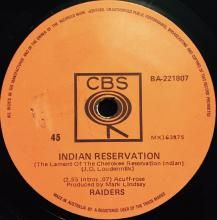 INDIAN RESERVATION (THE LAMENT OF THE CHEROKEE RESERVATION INDIAN) / TERRY'S TUNE   PAUL REVERE AND THE RAIDERS   7 inch single   music4collectors.com