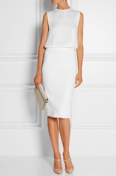 victoria beckham slit back white dress - Google Search