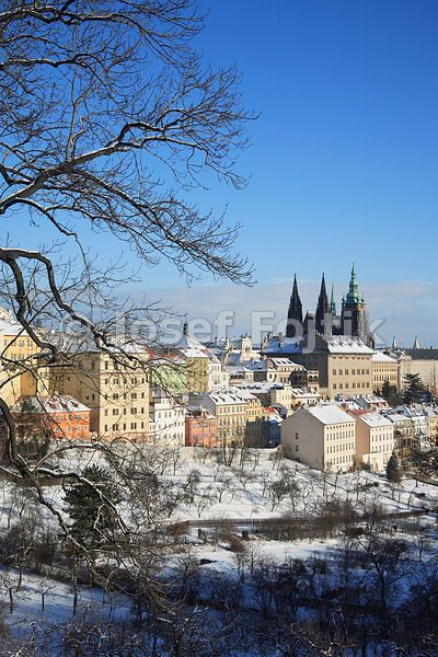 Prague Castle with the Saint Vitus Cathedral and Hradcany from Strahov Garden, Prague, Czech Republic - Travel, Sightseeing, Tourism