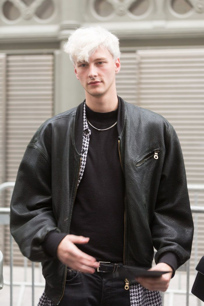 Benjamin Jarvis leather bomber and checkered shirt. #PMFW