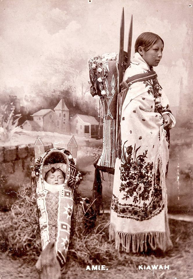 Amie, Kiowa mother, and child. ca. 1880s. Photo by G. A. Addison, Fort Sill, Oklahoma.