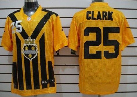 Men's Pittsburgh Steelers #25 Ryan Clark 1933 Yellow Throwback Jersey