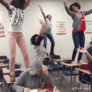 Funny Gifs ~ Girl dancing on school desk fall
