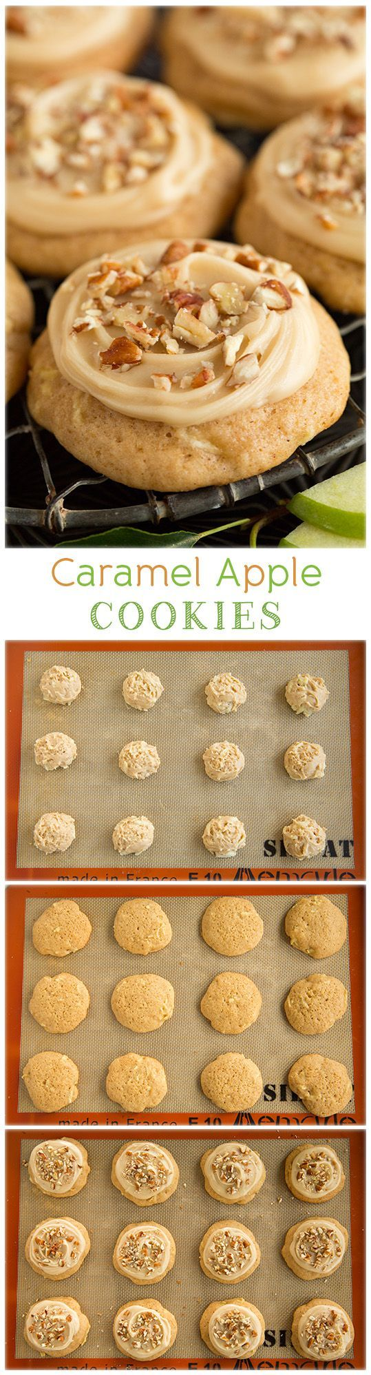 Caramel Apple Cookies - these cookies taste just like caramel apples but in soft cookie form! The perfect fall cookie! They're so good!