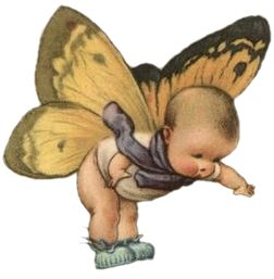 "Free Image... Baby Butterfly. "".. I love this little baby with butterfly wings! This would be so sweet to make a baby gift tag, add to a baby themed scrapbook album or anything else you can think of! :) {Go to link..} Click right on image or HERE to open in a new window... Then right click and choose ""Save As"". ~Emily. from Sweetly Scrapped Art"