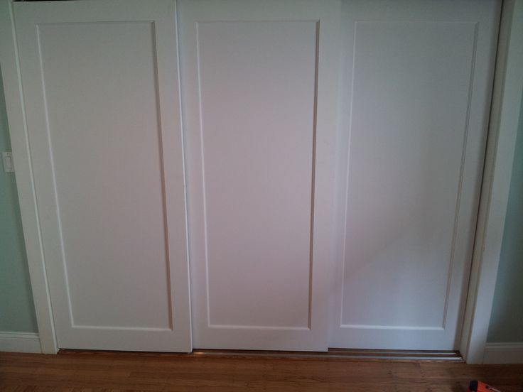 installed 3 panel doors on custom sliding track for extra wide closet baby and beyond in. Black Bedroom Furniture Sets. Home Design Ideas