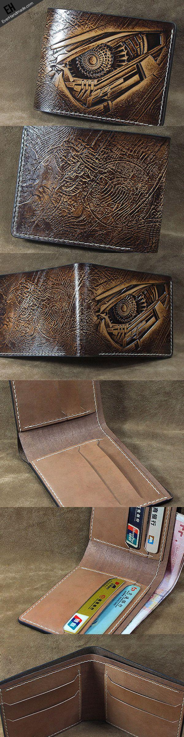 Handmade leather custom short wallet Transformers Decepticons carved f | EverHandmade