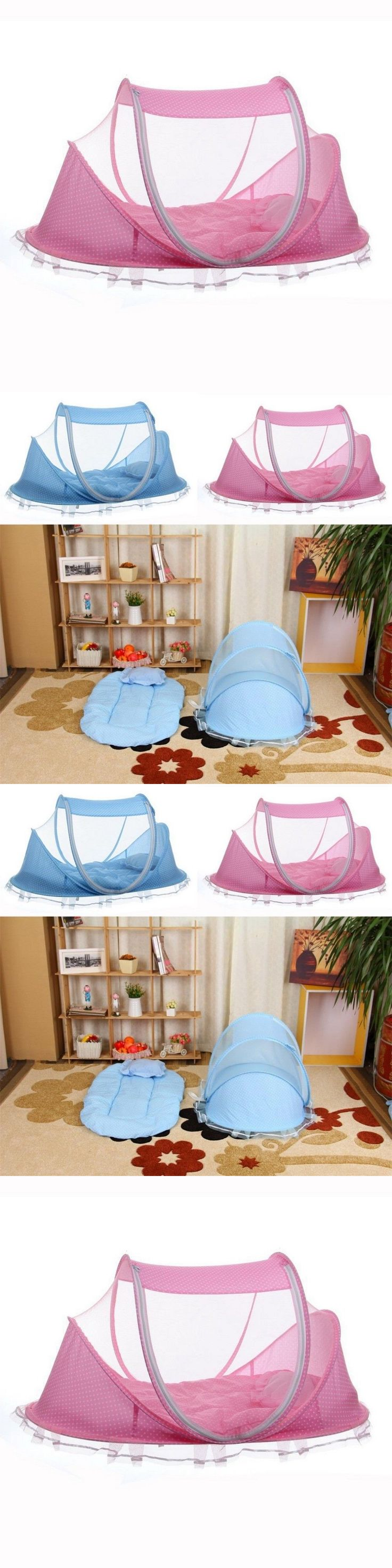 Canopies and Netting 180905: 4Pc Baby Crib Portable Comfortable Babies Pad Mosquito Net Kids Infant Bed Pink -> BUY IT NOW ONLY: $44.21 on eBay!