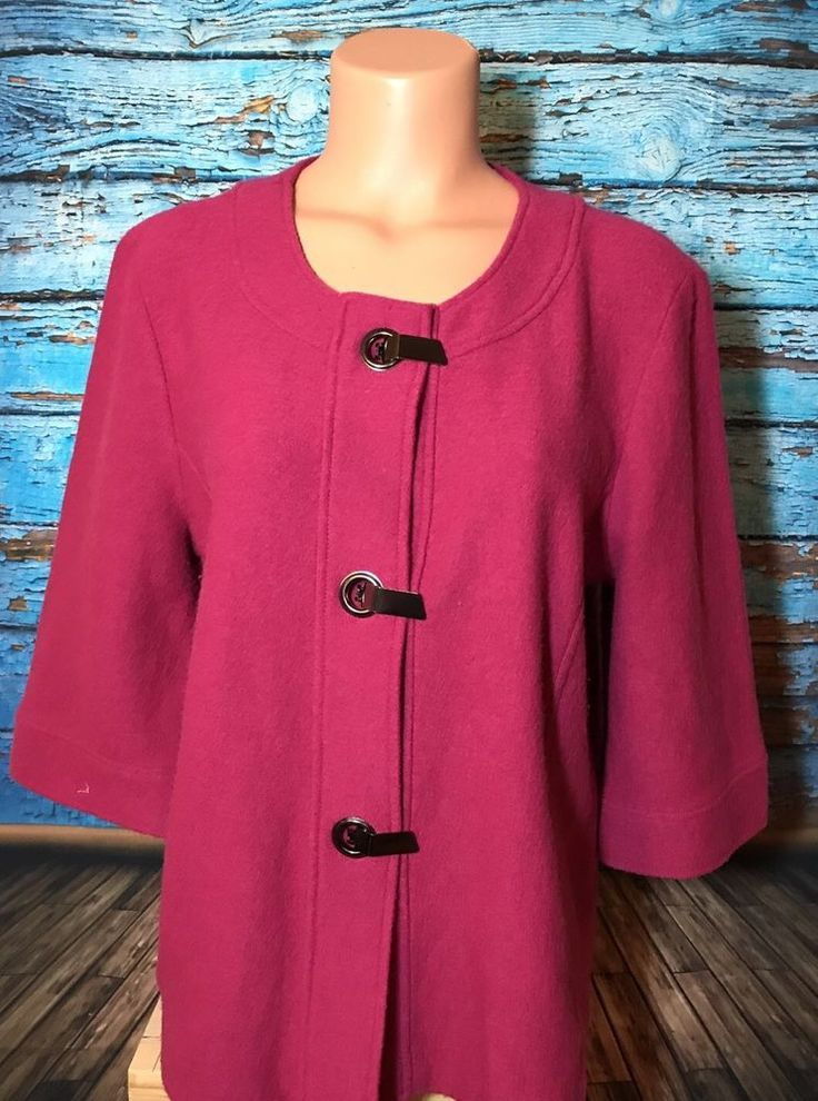 Chicos Women's Magenta Pink Blazer Top Sz 2 L Large Coat Fuchsia  | eBay