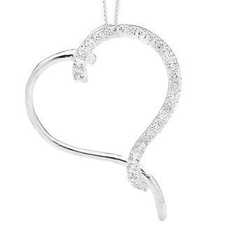 Sterling Silver Heart-Shaped Pendant with Cubic Zirconia - BEE-34813-CZ