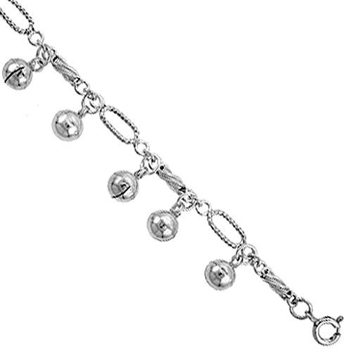 Sterling Silver Jingle Bells Anklet 12mm wide  fits 9 - 10 inch ankles.More info for where can i buy anklets;fancy anklets online shopping;silver anklets online;toe anklet;wedding anklets could be found at the image url.(This is an Amazon affiliate link and I receive a commission for the sales)