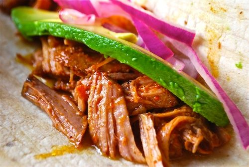 Cochinita Pibil Mexican Pork Tacos: authentic, mouth-watering Mexican food. Served for International Night potluck.