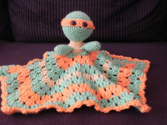 Crochet Pattern For Ninja Turtle Blanket : Ninja Turtle Crocheted Lovey Michelangelo baby hats ...